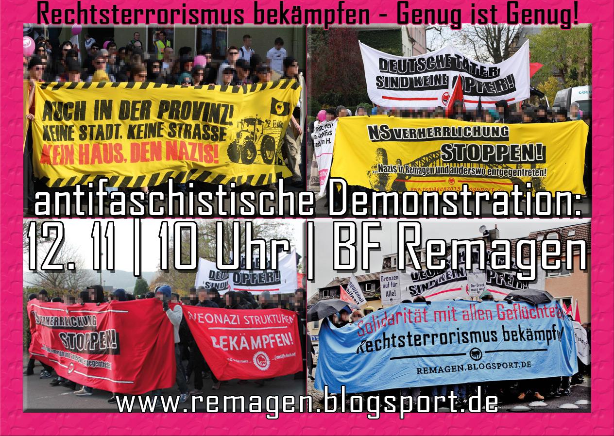 """Genug ist Genug!"""" gegen den Naziaufmarsch am 12. November beginnt um 10:00 Uhr am Bahnhof Remagen (Vorderseite)"""